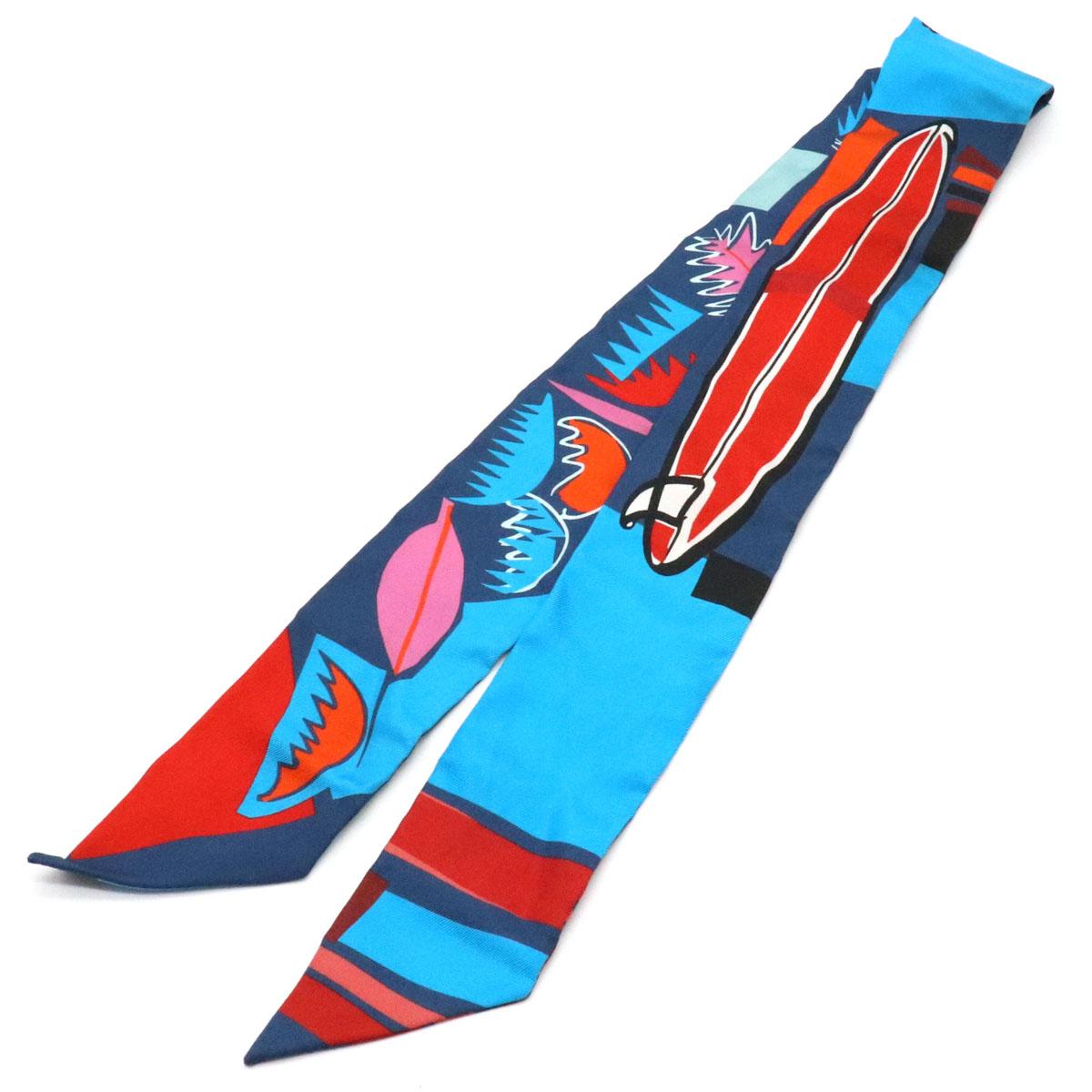 【アパレル】HERMES エルメス ツイリー SEA SURF AND FUN 海とサーフとファン スカーフ シルク100% ブルー 青 レッド オレンジ マルチカラー 【中古】