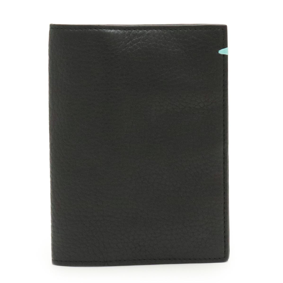TIFFANY&Co. ティファニー パスポートケース パスポートカバー レザー ブラック 黒 【中古】