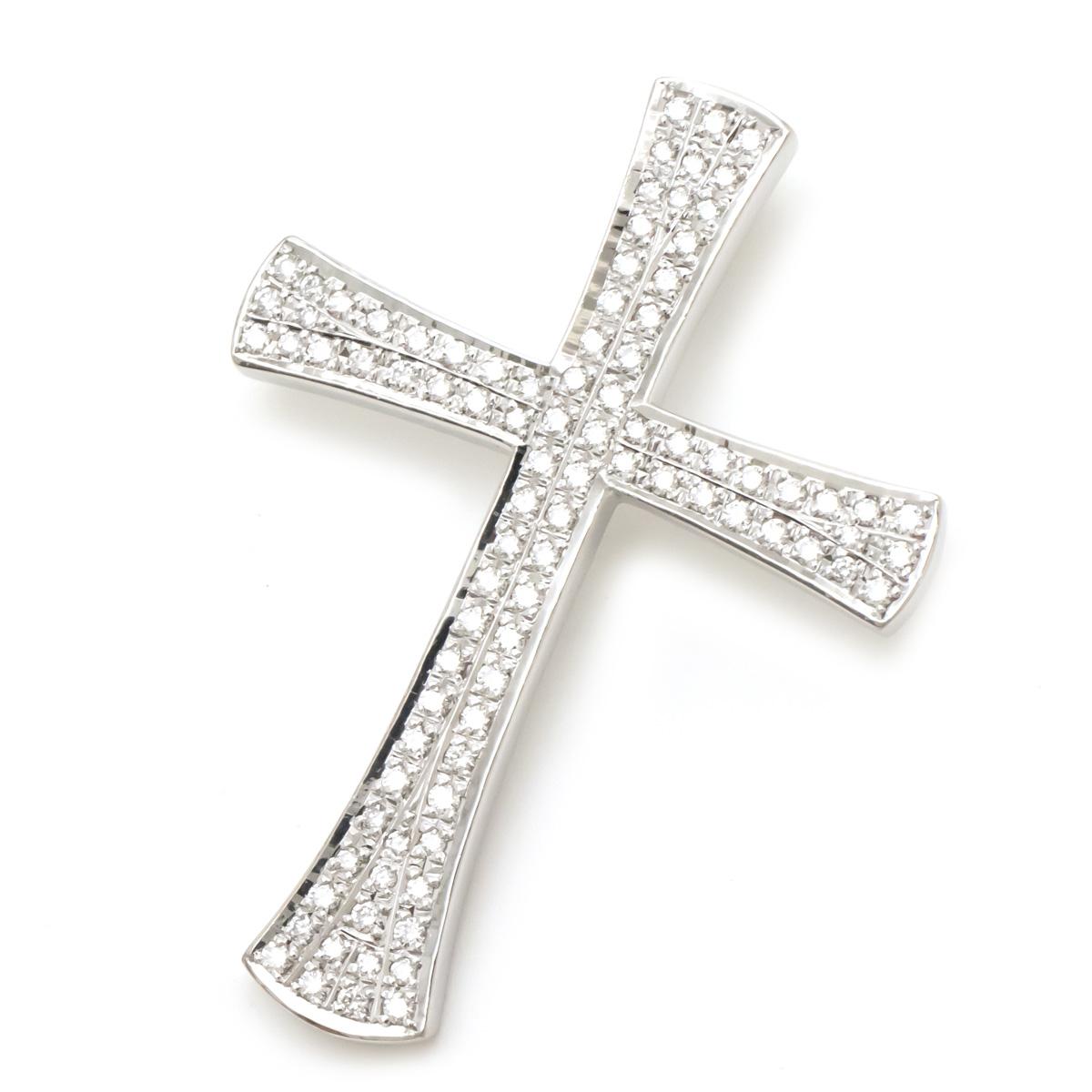 Sランク品 ジュエリー 新品仕上げ済 安心と信頼 クロス 十字架 トップ ダイヤモンド ペンダントトップ ホワイトゴールド D0.89 中古 K18WG 40%OFFの激安セール