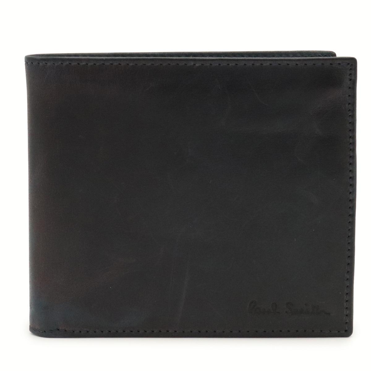 財布 Paul 未使用品 Smith ポール スミス ポールスミス 2つ折財布 PSF466 茶 ネイビー 中古 気質アップ 紺色 レザー ダークブラウン