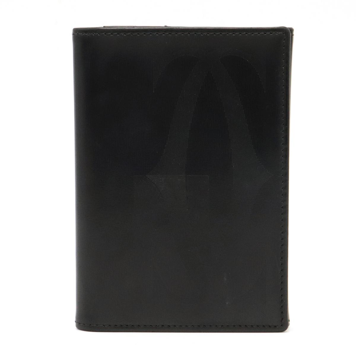 Cartier カルティエ 記念日 パシャ ロゴ 贈呈 2Cモチーフ カードケース 名刺入れ パスケース 黒 中古 L3001011 シルバー金具 ブラック レザー カーフ