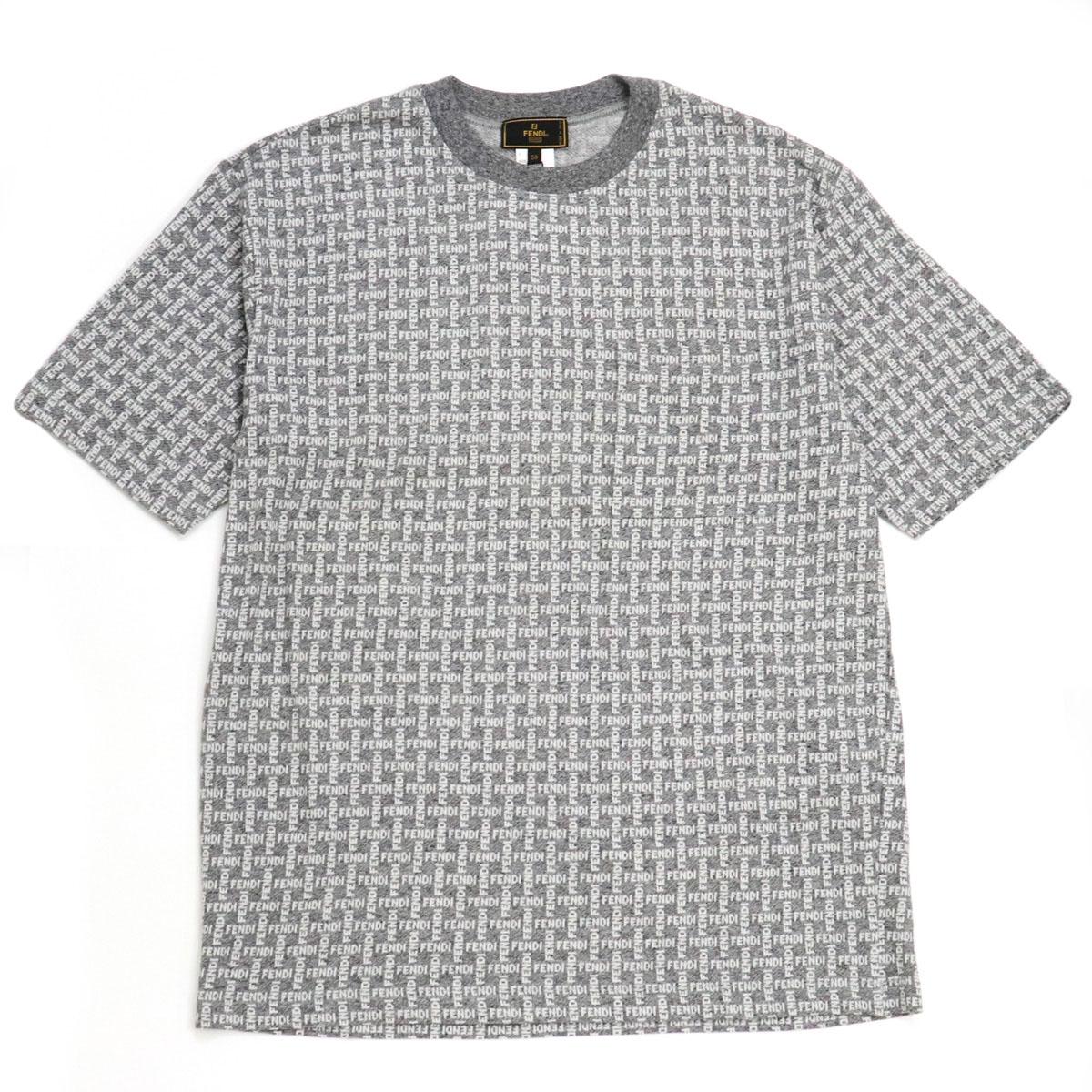 未使用品 アパレル FENDI フェンディ ロゴ 半袖 カットソー Tシャツ メンズ コットン100% 至上 オフホワイト #50 灰色 白 グレー 中古 人気の定番