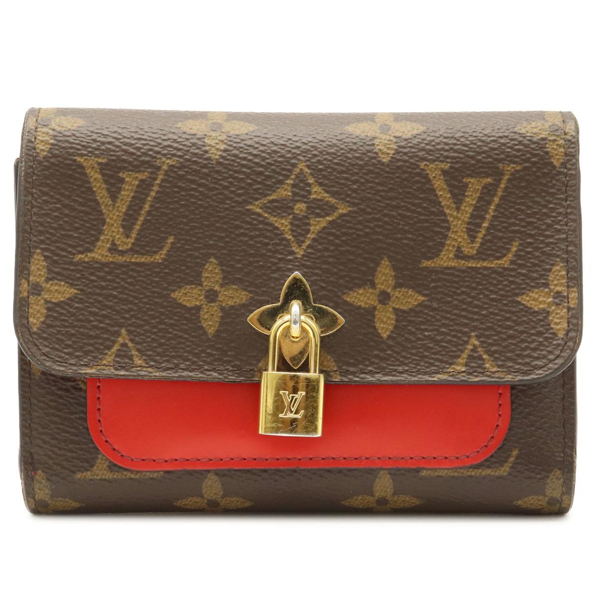 財布 LOUIS VUITTON ルイ ヴィトン モノグラム ポルトフォイユ フラワー コンパクト 売れ筋ランキング 中古 返品送料無料 M62567 三つ折り財布 3つ折財布 レザー レッド 赤 コクリコ