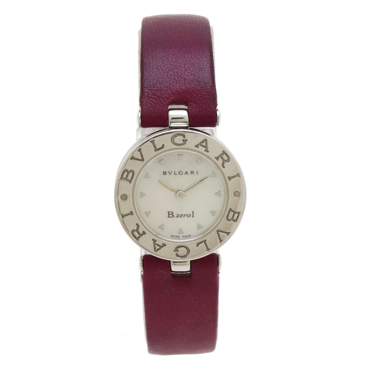 ウォッチ 超人気 BVLGARI ブルガリ B.zero1 B-zero1 ビーゼロワン ホワイトシェル文字盤 革ベルト QZ 腕時計 BZ22S Mサイズ 中古 レディース 特別セール品 クォーツ