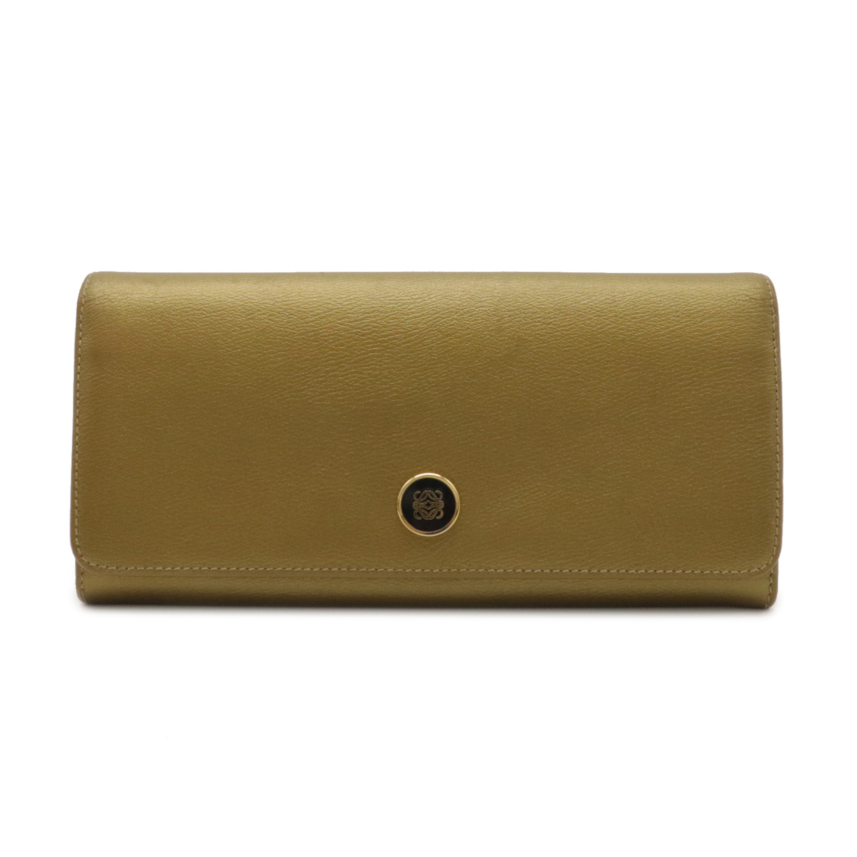 LOEWE Anagram 2-fold Long Wallet Two-folded Purse Leather Gold Gold Gold Bra