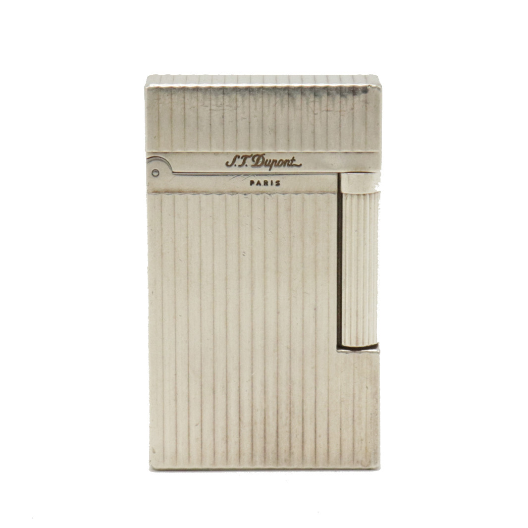 S.T.Dupont デュポン ライン2 新色 買物 ガスライター ライター ゴールドラベル シルバー色 喫煙具 ヘアライン 中古