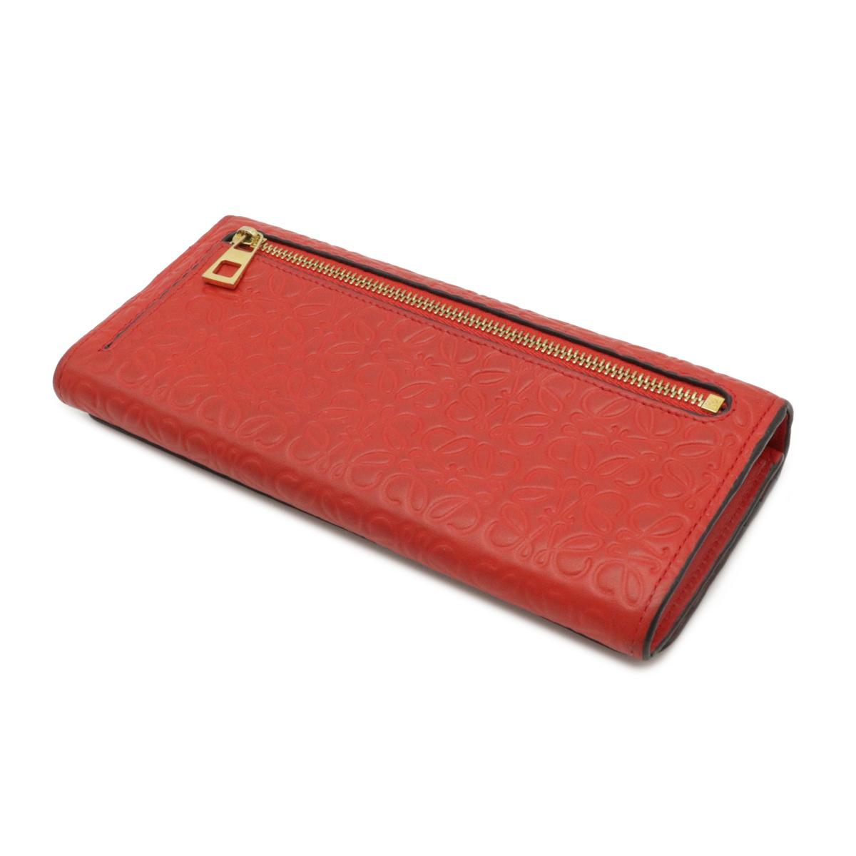 LOEWE Anagram Repeat Zippy Wallet Round Fastener Purse Embossed Leather Red