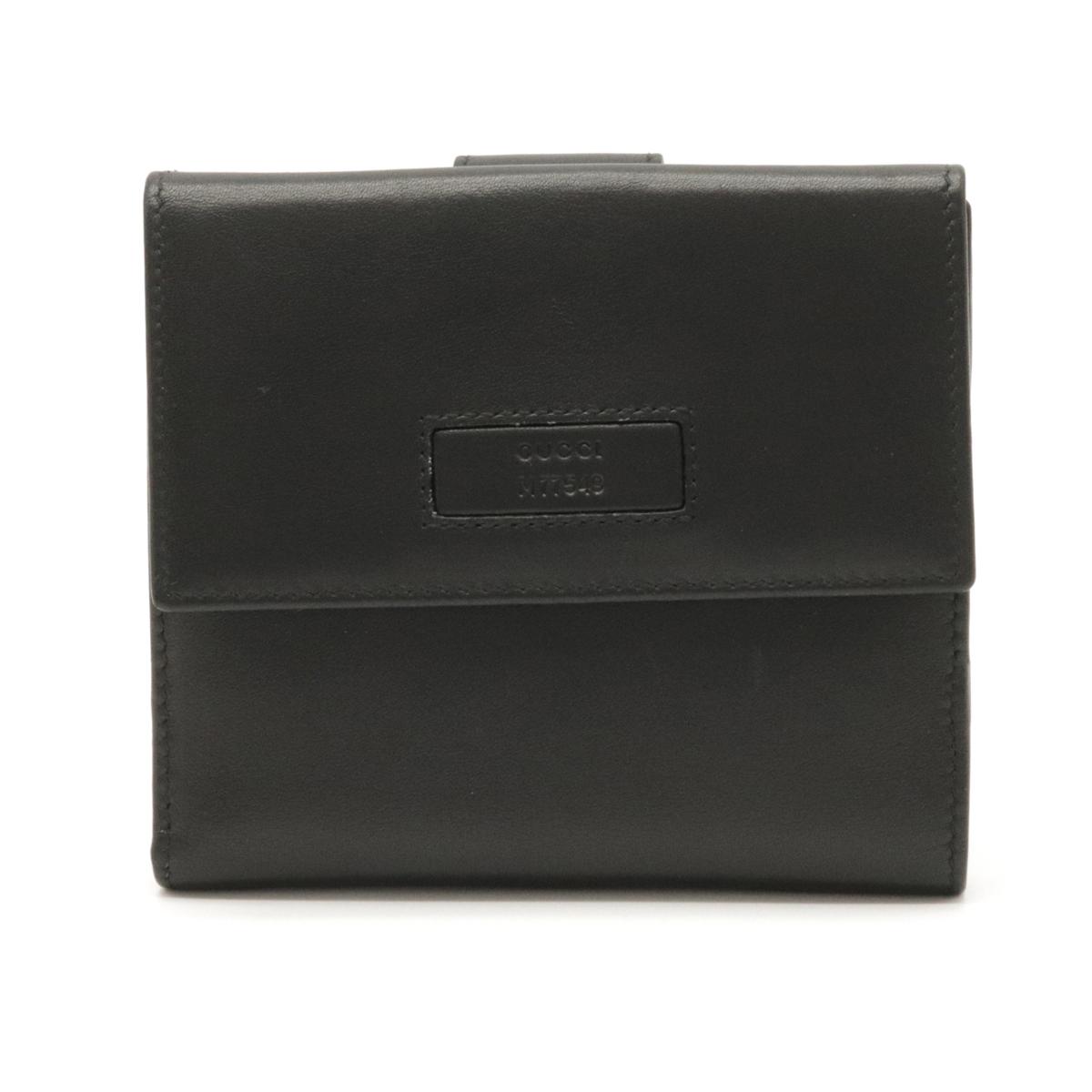 【財布】GUCCI グッチ Wホック財布 ダブルホック 2つ折財布 二つ折り財布 レザー ブラック 黒 アウトレット品 035 2149 2253 【中古】