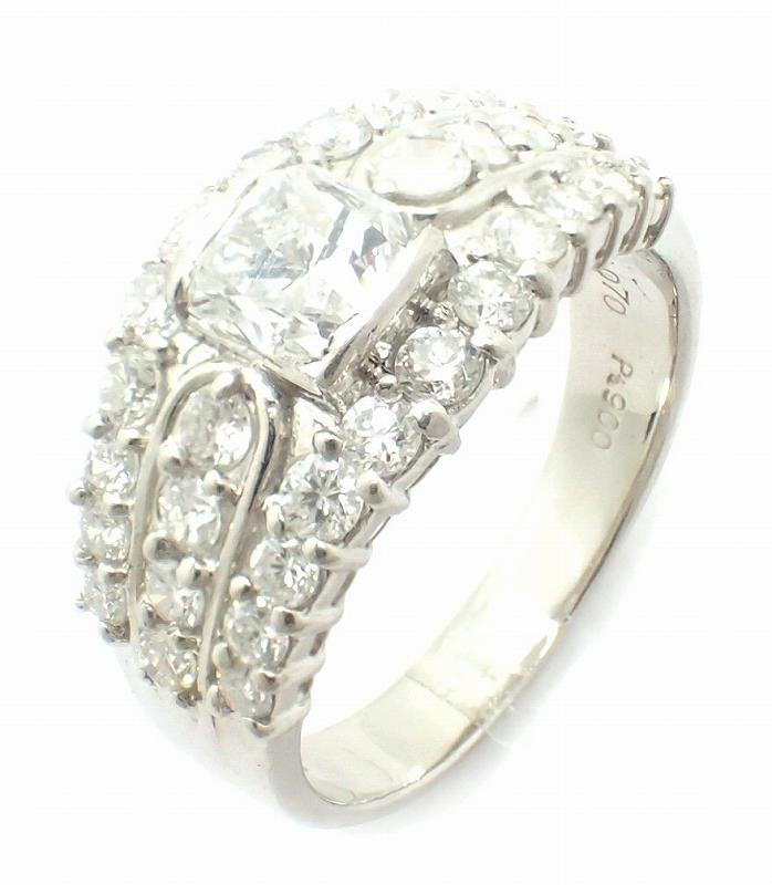 【ジュエリー】Pt900 プラチナ ファッションリング 指輪 15号 #15 ダイヤモンド ダイヤ 1.07 1.10 【中古】【u】