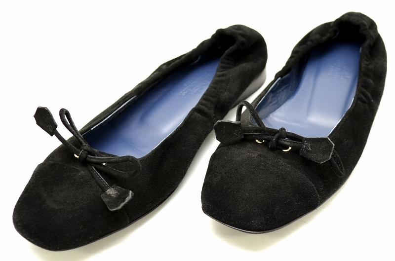 【靴】HERMES エルメス フラットシューズ バレエシューズ ラウンドトゥ シャーリング ヌバック 黒 ブラック #351/2 【中古】【Blumin/森田質店】【質屋出品】【u】