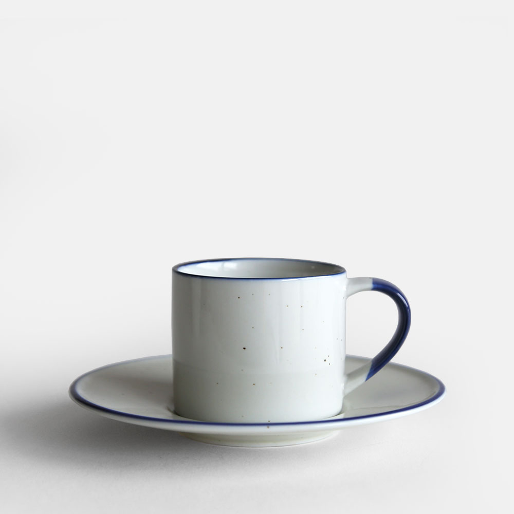 Manses Design Ovanaker Coffee Cup With Saucer Small Blue Line 113666