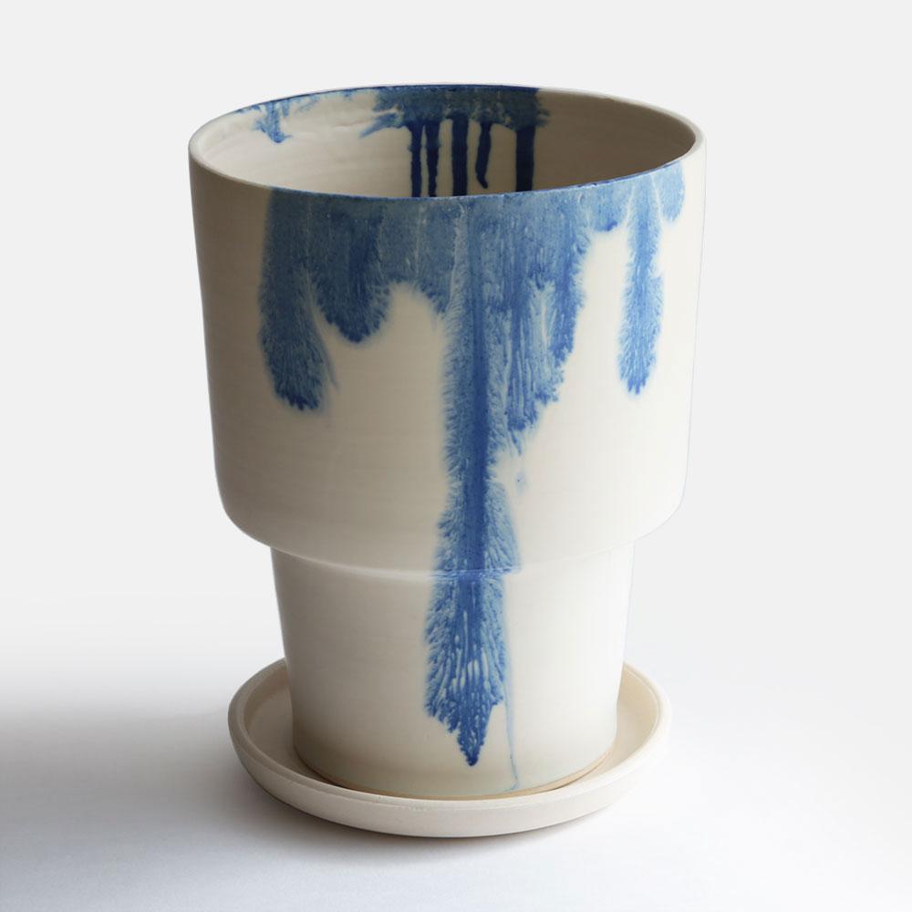 MISHIM POTTERY CREATION / DRIPS flower pot(size:L)【ミシンポタリークリエーション/3rd ceramics/陶器/フラワーポット/鉢/岐阜県多治見市/ドリップス】[112632