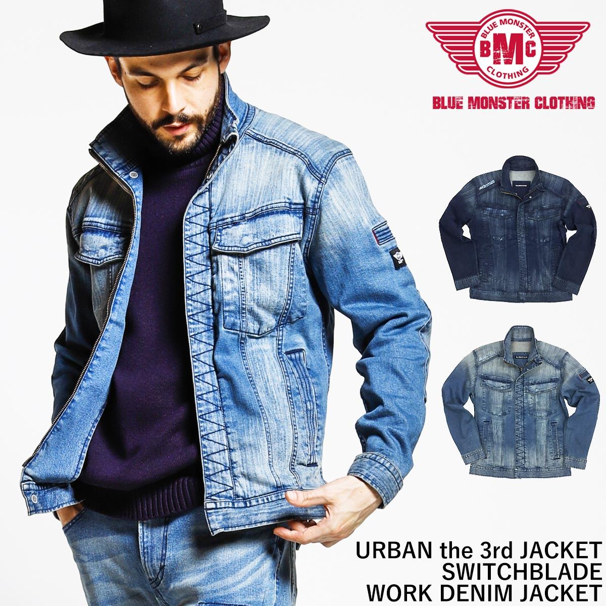 3260ee6896d BMC blue monster closing work jacket stretch denim Urban 3rd jacket men  denim jacket U03W switch blade processing dark blue   light blue S-5L
