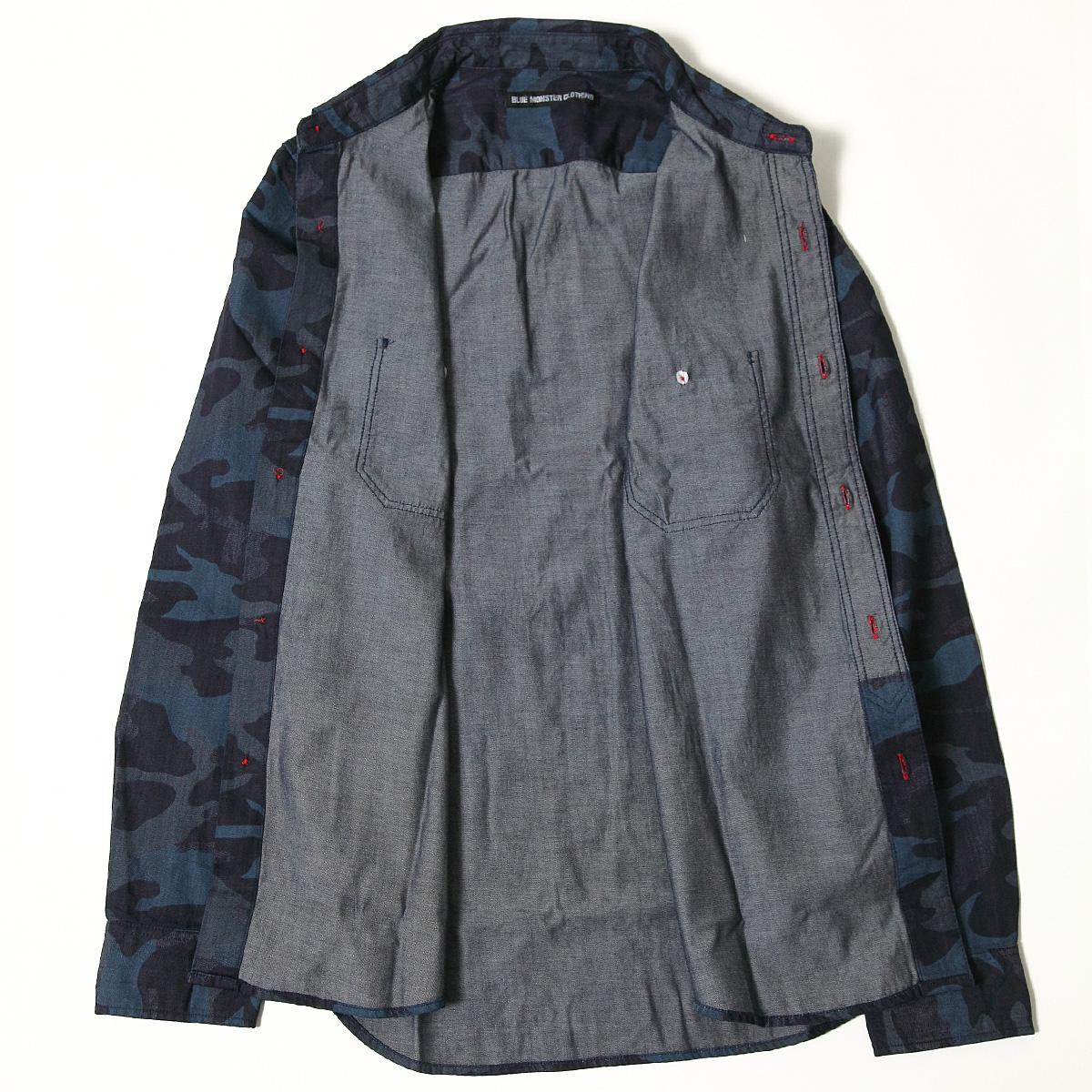 BMC 맨즈 밀리터리 셔츠 긴소매 위장무늬 원 워쉬/다크브르카모무늬 셔츠 미채 위장 셔츠 위장 BLUE MONSTER JEANS 브르몬스타크로징비엠시브릿트워크스 BMST01