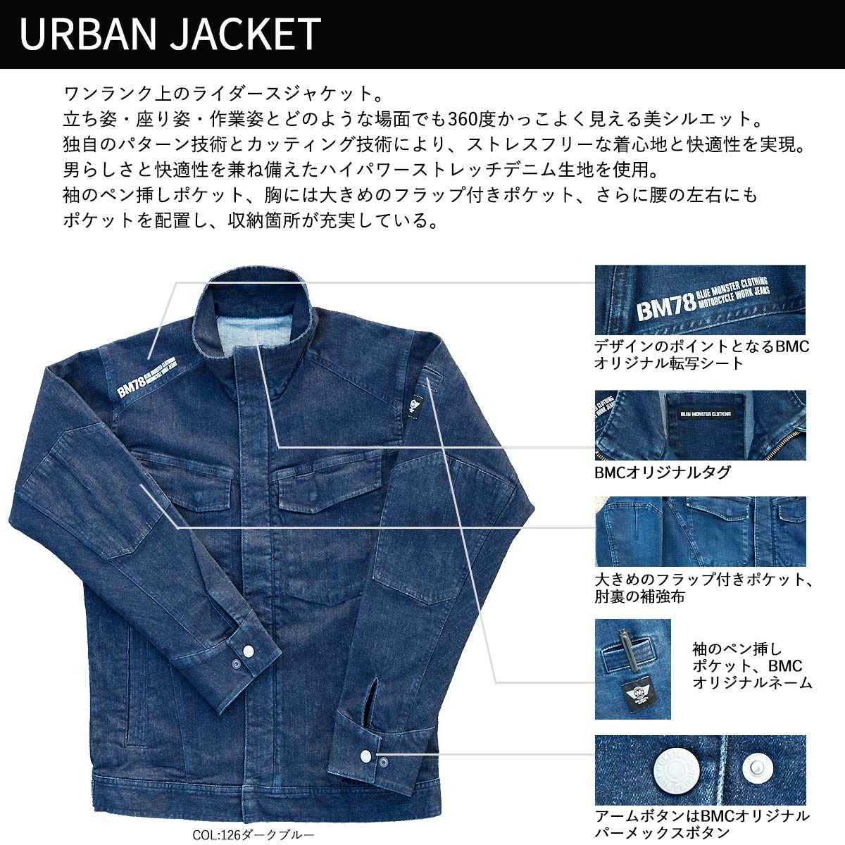 66f67834216 The size that the stretch denim Urban jacket men size that BLUE MONSTER  CLOTHING BMWST01 riders jacket (work jacket) one wash   dark blue   light  blue S-XL ...