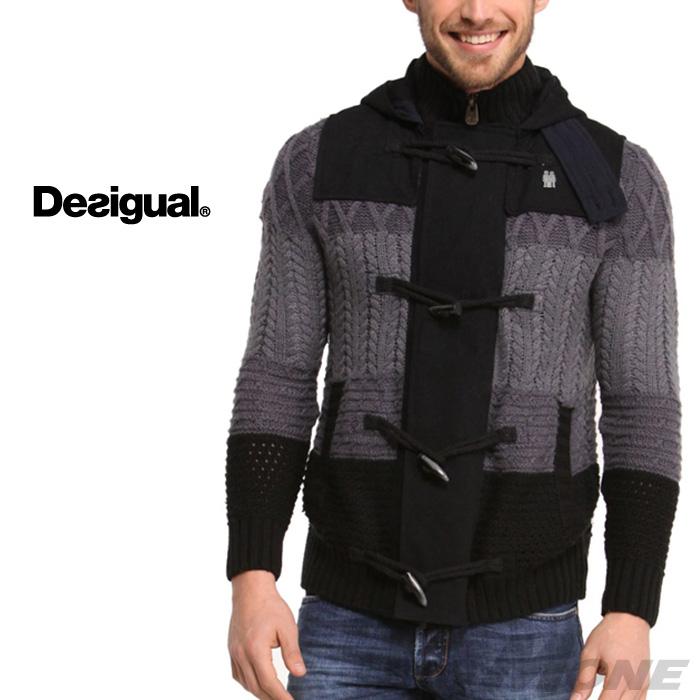 【大きいサイズ】【メンズ】[XXL・3XL]DESIGUAL(デシグアル) トグル付デザインセーター(Dani) 47j1125