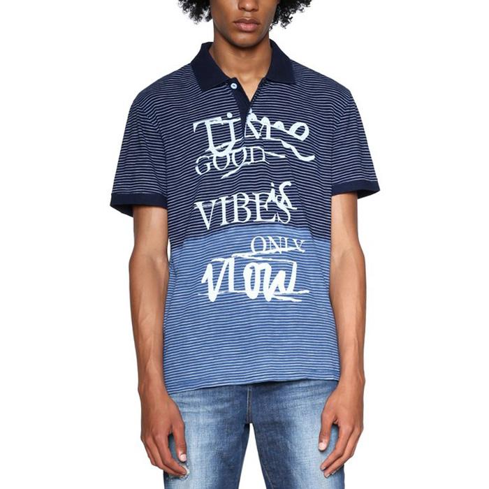 大きいサイズ メンズ DESIGUAL(デシグアル) ウエスト切替プリント半袖ポロシャツ 18smlk12