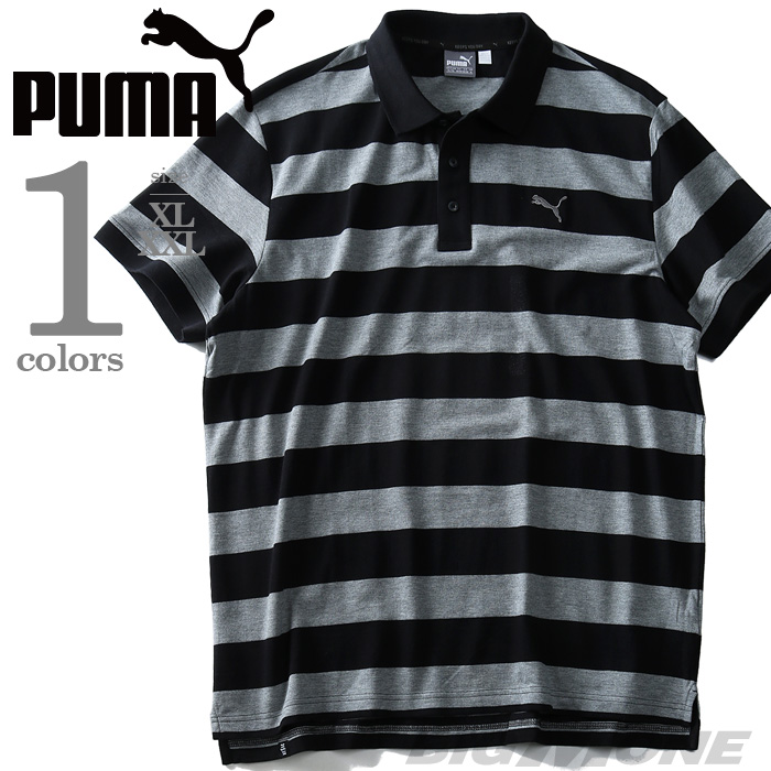 【大きいサイズ】【メンズ】PUMA(プーマ) ボーダー柄鹿の子半袖ポロシャツ【USA直輸入】838249