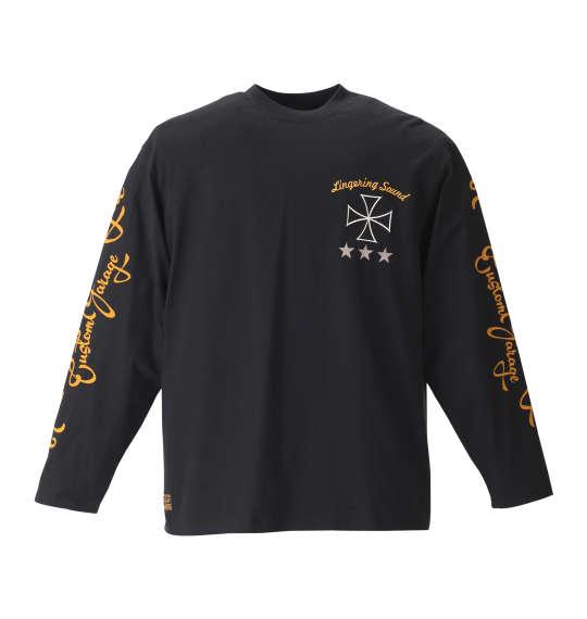 【大きいサイズ】【メンズ】 FLAGSTAFF 刺繍&プリント長袖Tシャツ ブラック 1158-8630-1 [3L・4L・5L・6L]