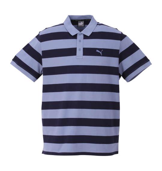 大きいサイズ メンズ PUMA エッセンシャルストライプ半袖ポロシャツ インフィニティー×ピーコート 1178-8202-3 [2XL・3XL・4XL・5XL]