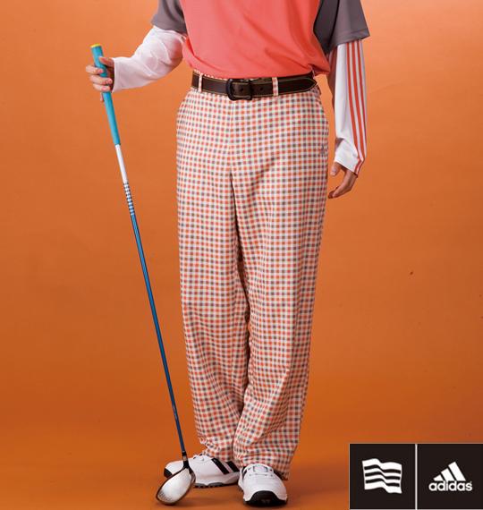 大きいサイズ メンズ adidas golf ブロックチェックパンツ オレンジ系 1174-1311-1 [100・105・110・115・120・130]
