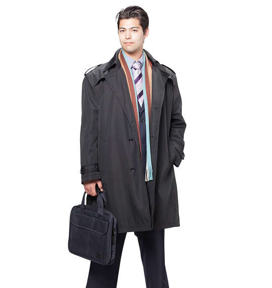大きいサイズ メンズ MICHIKO LONDON KOSHINO ライナー付トレンチコート ブラック 1151-6320-1 [3L・4L・5L・6L]