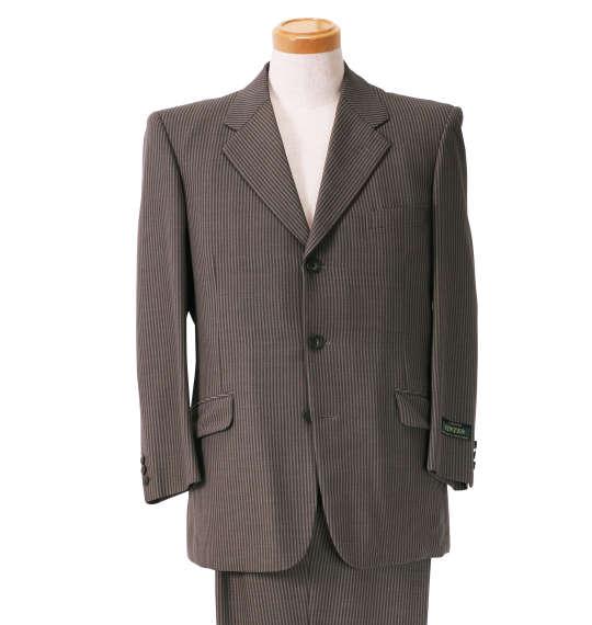 大きいサイズ メンズ シングル3ツ釦スーツ ブラウン 1122-5318-2 [2L・2TL・3L・5L・TLL]