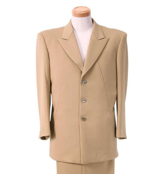 大きいサイズ メンズ シングル3ツ釦デザインスーツ キャメル 1122-5321-2 [2L・3L・4L・5L]