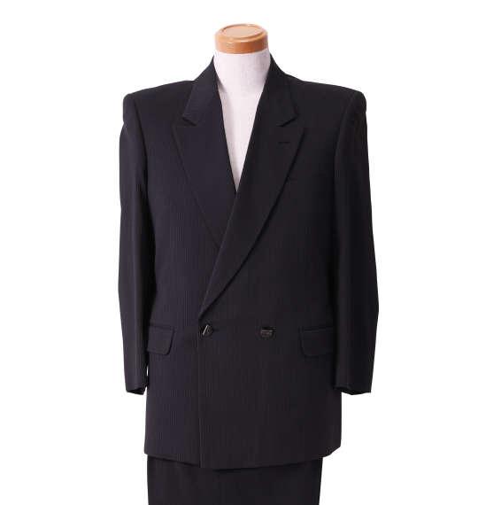 大きいサイズ メンズ セミピークダブル2ツ釦1ツ掛スーツ ブラック×パープル 1122-5350-3 [2L・3L・4L]