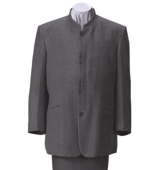 大きいサイズ メンズ マオカラースーツ チャコールグレー 1152-1335-2 [2L・3L・4L]