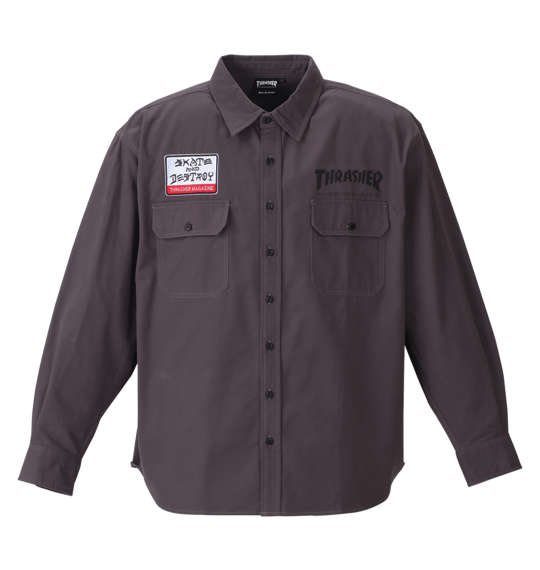 【大きいサイズ】【メンズ】 THRASHER 長袖ワークシャツ チャコール 1177-8320-1 [3L・4L・5L・6L・8L]