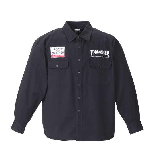 【大きいサイズ】【メンズ】 THRASHER 長袖ワークシャツ ブラック 1177-8320-2 [3L・4L・5L・6L・8L]
