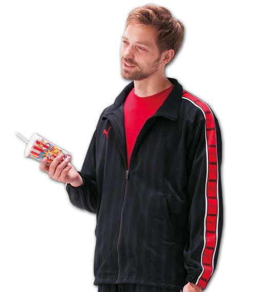 大きいサイズ メンズ PUMA トレーニングジャケット ブラック×レッド 1176-5300-2 [4XO・5XO・6XO・7XO]