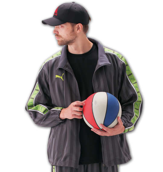 大きいサイズ メンズ PUMA トレーニングジャケット チャコール×グリーン 1176-5300-3 [4XO・5XO・6XO・7XO]