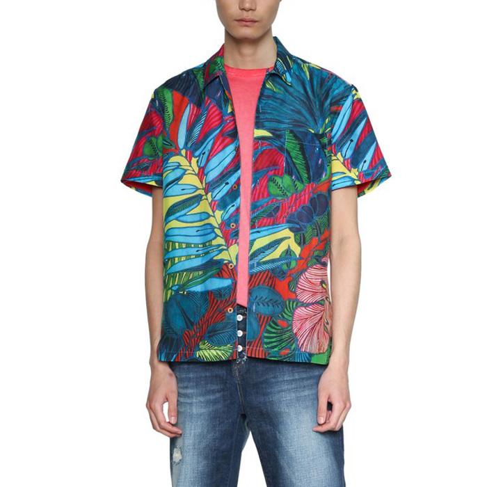 【大きいサイズ】【メンズ】DESIGUAL(デシグアル) 総柄プリントシャツ開襟半袖シャツ 18smcw51