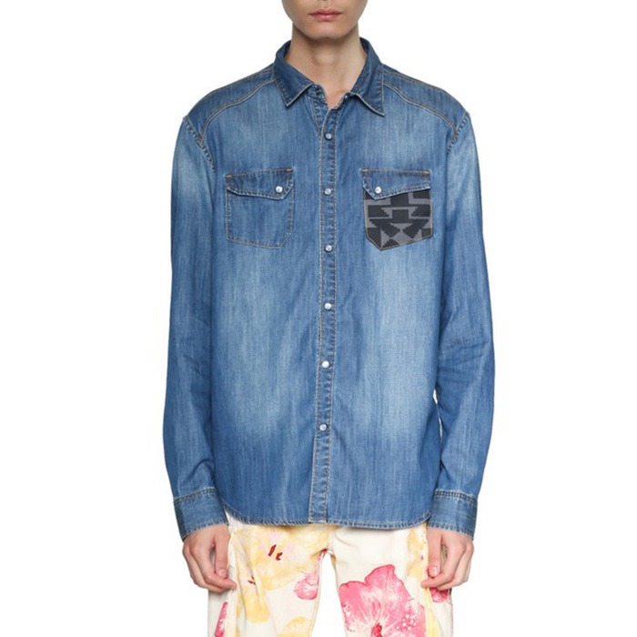 大きいサイズ メンズ DESIGUAL(デシグアル) 胸ポケット切替長袖シャツ 18smcd02