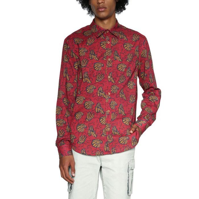 大きいサイズ メンズ DESIGUAL(デシグアル) 長袖総柄プリントシャツ 18smcw43