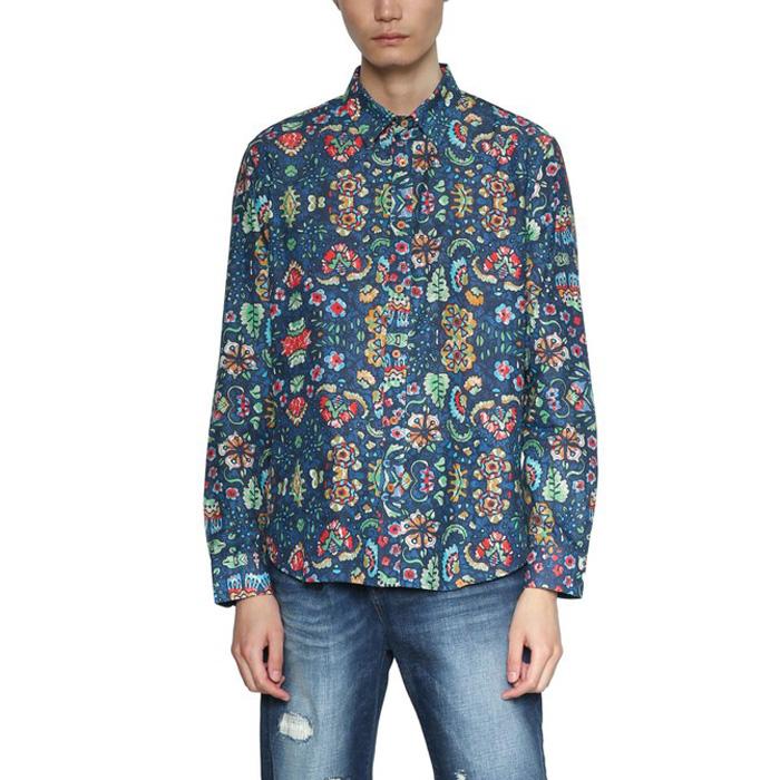 大きいサイズ メンズ DESIGUAL(デシグアル) 長袖総柄プリントシャツ 18smcw50