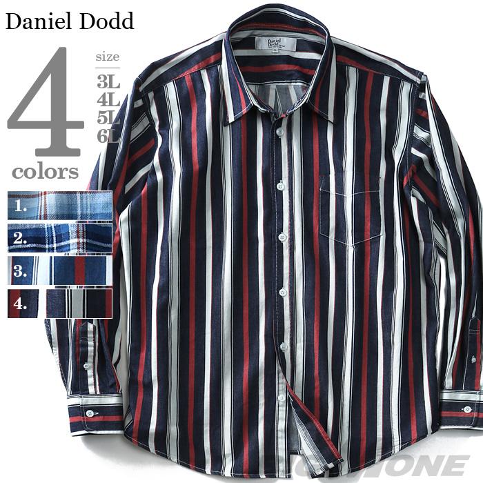 通信販売 大きいサイズの服 大きいサイズ メンズ ファッション 3L 4L 5L 6L 7L 8L 長袖 長そで 長袖シャツ 916-180409 ストライプ柄レギュラーシャツ チェック柄 DANIEL カジュアルシャツ 長袖インディゴチェック 長袖カジュアルシャツ 日本限定 アメカジ DODD カジュアル