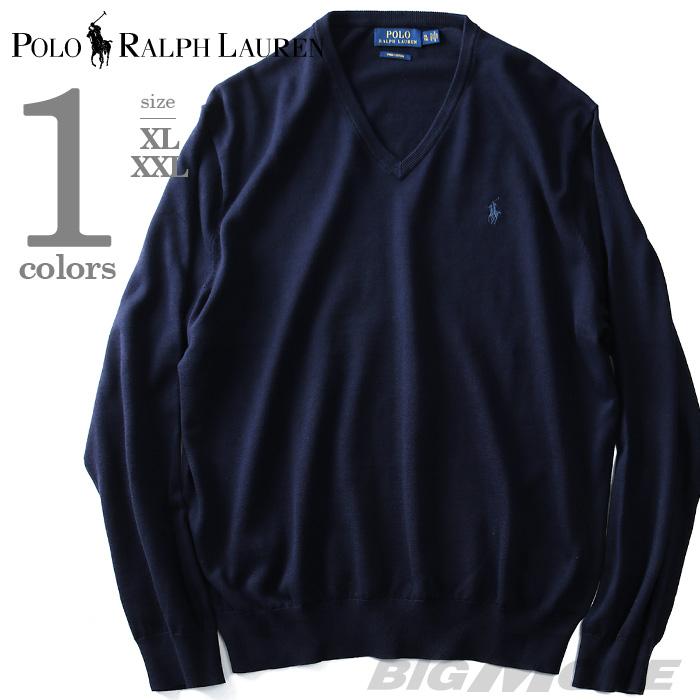 大きいサイズ メンズ POLO RALPH LAUREN(ポロ ラルフローレン) 無地Vネックセーター【USA直輸入】710682076001