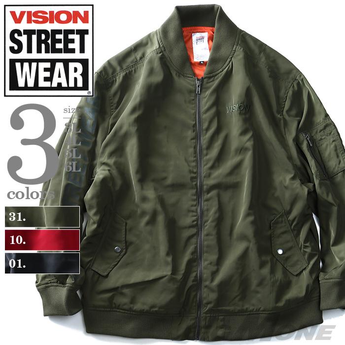【大きいサイズ】【メンズ】VISION STREET WEAR バックプリント付MA-1ジャケット 8704100