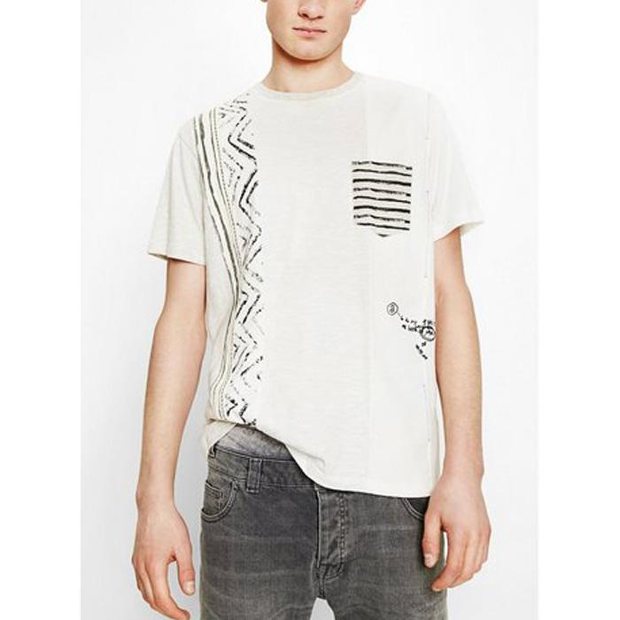 大きいサイズ メンズ DESIGUAL(デシグアル) 切替ポケット付き半袖Tシャツ 74t14a6
