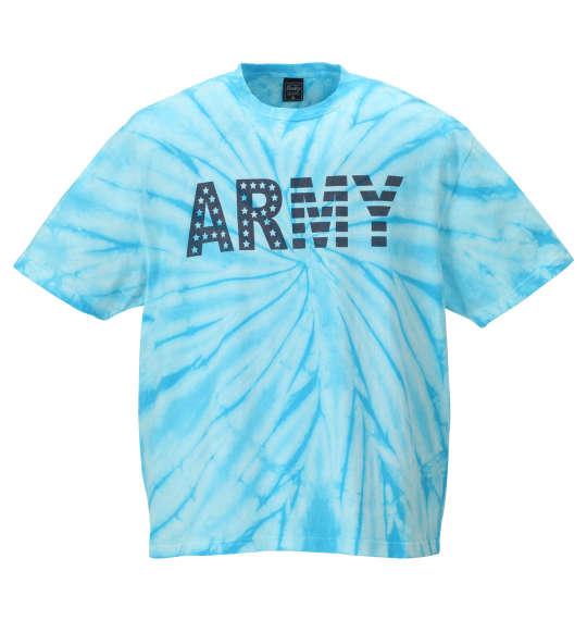 大きいサイズ メンズ SHELTY スパイダータイダイARMYプリント 半袖 Tシャツ ターコイズ 1168-9271-1 3L 4L 5L 6L 8L