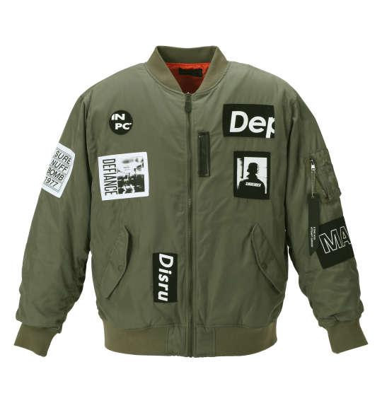 【大きいサイズ】【メンズ】 b-one-soul フォトワッペンMA-1ジャケット オリーブ 1153-8340-1 [3L・4L・5L・6L]