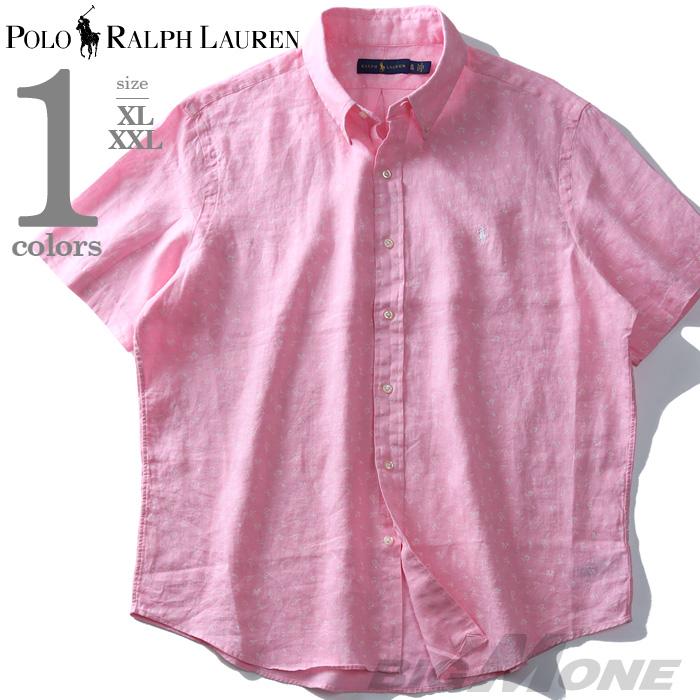 大きいサイズ メンズ POLO RALPH LAUREN ポロ ラルフローレン 麻100% 総柄 半袖 ボタンダウン シャツ USA直輸入 710741711
