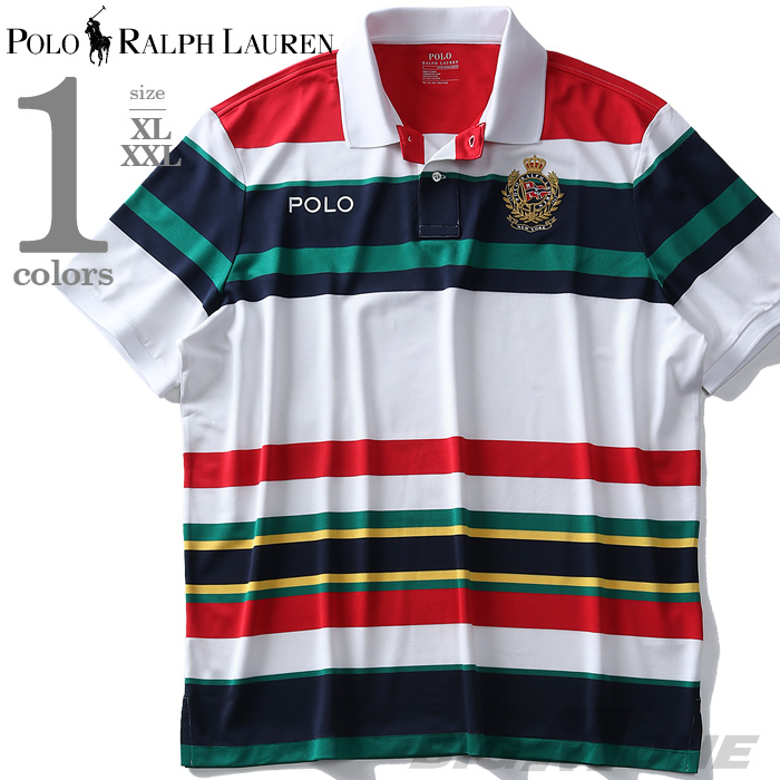 大きいサイズ メンズ POLO RALPH LAUREN ポロ ラルフローレン ボーダー柄 半袖 ポロシャツ USA直輸入 710741078