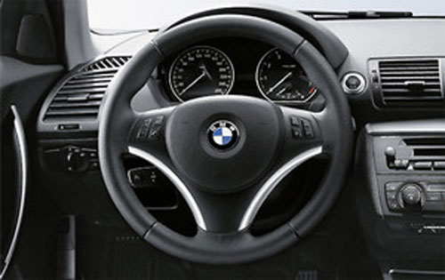 BMW 純正 E90 91 92 93 3シリーズ スポーツステアリング用カバー ブラック&クローム マルチファンクション付き用
