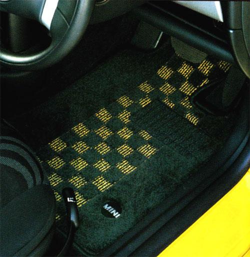 BMW MINI 純正 R52 コンバーチブル フロアマット セット シャギー チェック ブラック イエロー