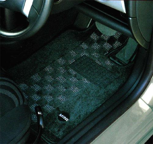 BMW MINI 純正 R52 コンバーチブル フロアマット セット シャギー チェック ブラック グレー