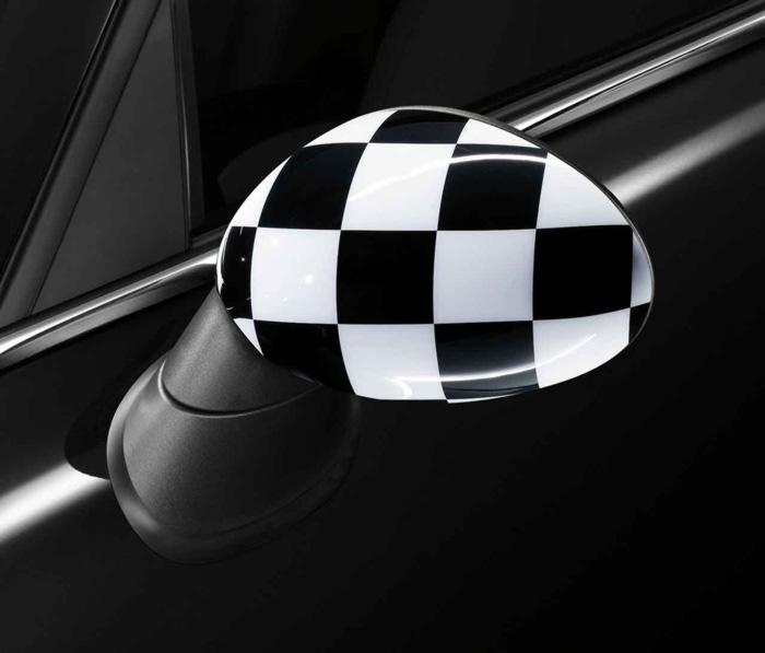 【BMW MINI 純正】MINI F54/F55/F56/F57/F60用 ミラー・キャップ セット CHEQUERED FLAG ブラック (3door 5door Convertible Clubman Crossover)